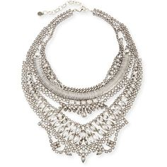 Dylanlex Bobbie Statement Necklace ($640) ❤ liked on Polyvore featuring jewelry, necklaces, silver, geometric necklace, lobster clasp necklace, chain necklaces, statement necklaces and geometric jewelry