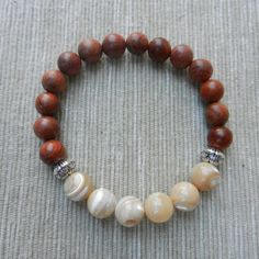 Natural Mother of Pearl Rose wood beads bracelet by PureLapis