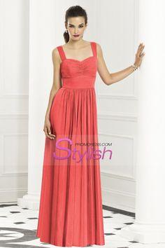 Floor Length Straps Chiffon Dress Sweetheart Neckline And Natural Waist Pick Up Shirred Skirt