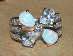 white fire opal topaz Cz ring Gemstone silver jewelry Sz 6 modern engagement Z34