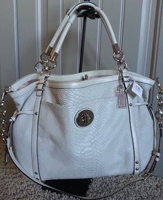 Coach Audrey Pinnacle Python Embossed Exotic Cinched white Tote Bag 19585