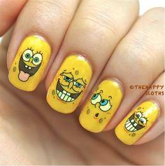 Spongebob Nails by BornPrettyNails - Nail Art Gallery nailartgallery.nailsmag.com by Nails Magazine www.nailsmag.com #nailart