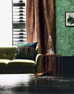 Green Modern Living Room with Metallic Side Table