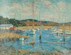 """""""Essex Harbor,"""" Clark Greenwood Voorhees, oil on canvas, 28 x 36"""", private collection."""