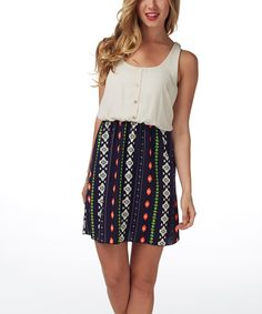 Another great find on #zulily! Navy Blue & Ivory Tribal Racerback Dress by Pinkblush #zulilyfinds