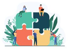 Free Vector | Business team putting together jigsaw puzzle isolated flat vector illustration. cartoon partners working in connection. teamwork, partnership and cooperation concept Design Plano, Business Icon, Business Meeting, Cartoon Girl Drawing, Good Teamwork, Community Service, Flat Illustration, Logo Vintage, Puzzle Pieces