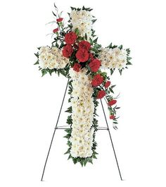 Order Hope and Honor Cross funeral from Helen Blakey Flowers, your local Scarborough florist. Send Hope and Honor Cross funeral for fresh and fast flower delivery throughout Scarborough, ON area. Funeral Bouquet, Funeral Flowers, White Chrysanthemum, Red Carnation, Fast Flowers, Buy Flowers, Paper Flowers, Mini Carnations, Funeral Flower Arrangements