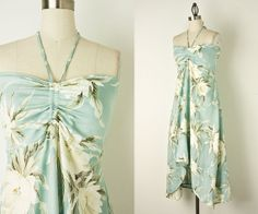 90s Vintage Mint Floral Hawaiian Sun Dress / Hi Low Hem by decades, $42.00