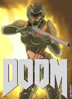 Most bad ass chick alive Doom 4, Doom Game, Samus Aran, Metroid Samus, Zombies, Doom 2016, Character Art, Character Design, Heavy Metal Art