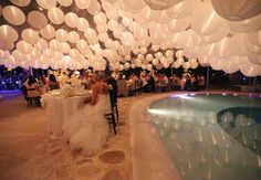 Paper lantern ceiling. Follow us and get more wedding ideas and inspiration, wedding dresses for sale, wedding quotes you will love. #Weddings #NewAdoringDress.com