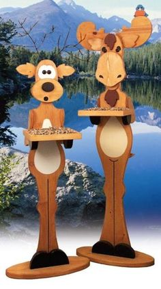 Woodworking Patterns - Moose Bird Feeder Woodworking Plan - A birdhouse dwelling built with easy construction from inch lumber designed after other creatures that hang out among the trees with your backyard birds! Woodworking Projects That Sell, Woodworking Patterns, Popular Woodworking, Woodworking Furniture, Fine Woodworking, Woodworking Ideas, Woodworking Classes, Youtube Woodworking, Woodworking Jointer