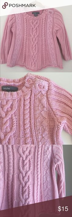 Baby GAP Cable Knit Crew Neck Sweater Baby GAP Cable Knit Crew Neck Sweater in Pink with button opening at neck. Soft cotton knit with stitch detailing. Gently used and in Excellent condition. GAP Shirts & Tops Sweaters