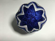 Dekorácie - vianočné patchworkové gule modro-strieborné s bielym lurexom - 7147179_