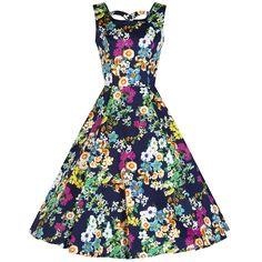 4dbe30ae26 Navy Multi Floral Cut Out Rockabilly Swing Dress Floral Tea Dress