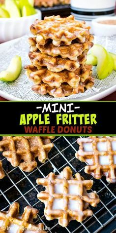 Mini Apple Fritter Waffle Donuts - these little homemade waffle donuts are load., Apple Fritter Waffle Donuts - these little homemade waffle donuts are loaded with apples and dunked in a sweet glaze. Mini Waffle Recipe, Waffle Maker Recipes, Donut Recipes, Brunch Recipes, Cooking Recipes, Healthy Recipes, Breakfast Waffle Recipes, Pancake Recipes, Starbucks Recipes