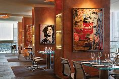 The contemporary Café Boulud at the newly-opened @Four Seasons Hotel Toronto features billion-year-old stone floors and paintings from iconic pop artist Mr. Brainwash.