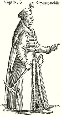 Hungarian Noble, made by Cesario Vecelli Viking Garb, Central And Eastern Europe, Knights Templar, Folk Music, Woodblock Print, 16th Century, Fashion History, Hungary, Croatia
