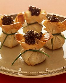 Caviar Phyllo Purses, Frozen phyllo dough is available in most supermarkets.