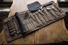 The ORIGINAL TOOL BOOK ™   (Black Waxed Cotton and Leather Motorcycle Tool Roll)