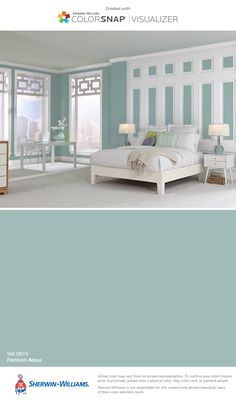 I found this color with ColorSnap® Visualizer for iPhone by Sherwin-Williams: Festoon Aqua (SW 0019).