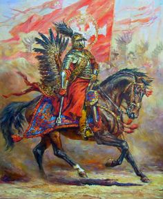 Polish winged hussars preparing to charge the Ottomans- by Telenik Polish Tattoos, World Of Darkness, Knight Armor, Fiction, Knights Templar, Modern Warfare, Military Art, Ancient History, Cool Art