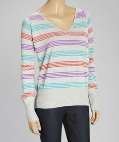This Turquoise & Lilac Stripe V-Neck Sweater is perfect! #zulilyfinds