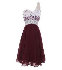 Melantha One Shoulder Homecoming Dresses Short Prom Dress Beadings Size 2 Burgundy