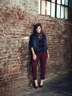 Addition Elle plus size jean jacket with high-low tunic and colored jegging.