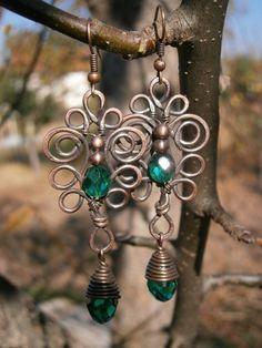 Hand made copper wire earrings Copper earrings with Czech crystal beads Wire Jewelry Earrings, Wire Jewelry Making, Wire Wrapped Earrings, Copper Earrings, Beaded Earrings, Earrings Handmade, Beaded Jewelry, Handmade Wire, Jewellery Making