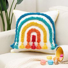 Rainbow Lumbar Small Decorative Throw Pillows Cover Tufted Kids Pillows Cover 12 X 20 Inch, Cute Boho Rectangular Pillow Case for Couch Sofa Bedroom Living Room Nursery Décor Floor Pillows Kids, Cactus Cross Stitch, Decorative Cushions, Boho Pillows, Throw Pillow Covers, Bunt, Nursery Decor, Couch Sofa, Living Room