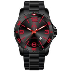 Jivago Men's Ultimate Red/ Black Watch (Jivago Men's Rush Watch) - Size: One Size Fits All (Stainless Steel) Rugged Watches, Watches For Men, Men's Watches, Gifts For Your Boyfriend, Gifts For Wife, Online Watch Store, Watch Bands, Watch 2, True Red