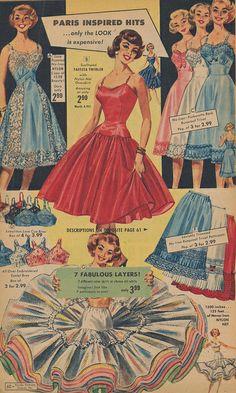 Paris-Inspired Petticoats ~ ca. Moda Vintage, Vintage Mode, Retro Vintage, 1950s Style, Vintage Outfits, Vintage Dresses, Floral Dresses, Vintage Clothing, 1950s Fashion