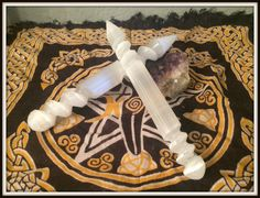 """Large Selenite Wand ~ Wicca ~ Witch ~ Magick ~ Altar Supply ~ Massage Wand ~ Polished White Carved Spiral Selenite Wand ~ 8"""" ~ Air Element by SummerlandBB on Etsy"""