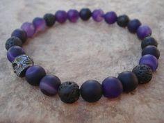 Skull Bracelet, Black Lava Bead Bracelet,Banded Agate Amethyst Bracelet,Lava Rock Bracelet,Lava Stone Bracelet,Mens Bracelet,Men Jewelry