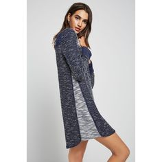 BCBGeneration Boucle Color-Blocked Sweatshirt Dress ($88) ❤ liked on Polyvore featuring dresses, navy, navy color block dress, short navy dress, colour block dress, navy blue short dress and sweatshirt dresses
