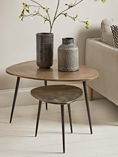 NEW Two Textured Nesting Tables - Occasional Tables & Side Tables - Luxury Modern Tables - Modern Home Furniture Side Tables Uk, Small Round Side Table, Modern Side Table, Coffee Tables Uk, Coffee Table With Storage, Small Coffee Table, Modern Home Furniture, Table Furniture, Nesting Tables