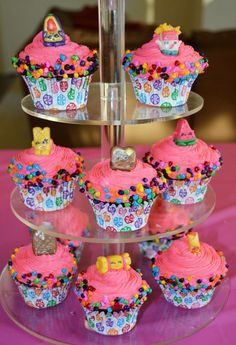 Shopkins cupcakes with fondant toppers!!! So cute!