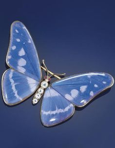 A late 19thearly 20th century butterfly wing and silver-gilt butterfly brooch. The silver gilt brooch mounted with natural South American Blue Morpho (Morpho Menelaus) butterfly wing, the body set with colourless paste and red paste eyes, circa 1900, Austro-Hungarian marks, fitted case.