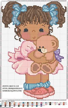 Black doll x-stitch Cross Stitch For Kids, Cute Cross Stitch, Cross Stitch Charts, Counted Cross Stitch Patterns, Cross Stitch Designs, Cross Stitch Embroidery, Embroidery Patterns, Crochet Patterns, Craft Patterns