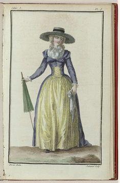 Cabinet des Modes ou les Modes Nouvelles, 1 Mars 1786, 8e cahier, pl. I, A.B. Duhamel, Desrais, Buisson, 1786