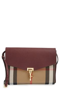 Burberry 'Small Macken' Check Crossbody Bag | Mahogany Red | Pebbled leather and Burberry's distinctive House check combine beautifully on this sophisticated crossbody done in the season's smaller silhouette. A slim, adjustable strap and gleaming hardware complete the chic look.