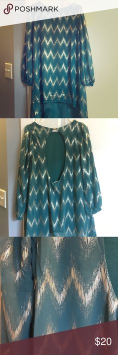 """Teal High-Low Cocktail Dress Lightweight, fun cocktail dress! Gold zigzag pattern. Sheer material on sleeves and """"low"""" part of dress (solid material of course covering body). Purchased on an online boutique just not a huge fan how it fits on me. Everly Dresses High Low"""