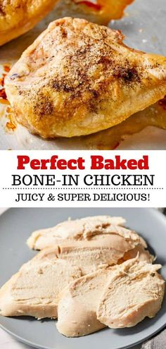 This recipe for perfectly baked bone-in chicken breast is a simple way to prepare chicken for meal prep, chicken salads, chicken soup and more. Split Chicken Recipes, Healthy Chicken Recipes, Lunch Recipes, Healthy Dinner Recipes, Crockpot Recipes, Chicken Salads, Chicken Soup, Baked Bone In Chicken, Baked Chicken Breast
