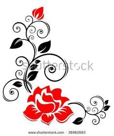 Rose Flower Border Design Black And White Clipart Black And White, Black And White Abstract, Rose Embroidery, Hand Embroidery Designs, Flower Outline, Flower Art, Art Floral, Art Carte, Bullet Journal Art