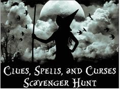 The Halloween Scavenger Hunt Clues, Spells, and Curses is a far cry from your typical scavenger hunt list. It& a unique mix of murder mystery, treasure hunt and scavenger party games. Halloween Scavenger Hunt, Scavenger Hunt Clues, Halloween Party Games, Fete Halloween, Halloween Activities, Spooky Halloween, Holidays Halloween, Halloween Crafts, Halloween Decorations