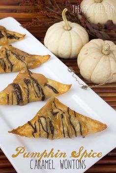 Pumpkin Spice Caramel Wontons are filled with pumpkin and cream cheese flavor, then drizzled with chocolate and caramel. A delicious addition to Thanksgiving dinner! #TasteTheSeason #ad