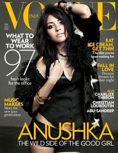 Anuska Sharma wearing a Dolce & Gabbana Star-print coat on the cover of Vogue India February 2012