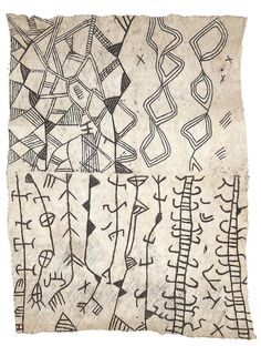 Africa ~ Painted Bark Cloth by the Ituri Pygmy ~ Congo 1950