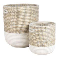Aufbewahrung Deko Korb Blanca Weide weiß Weidenkorb Länge: 50 59 oder 66 cm