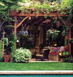 Beautiful pergolas, metal or wooden gazebo designs add charming and romantic atmosphere to yard landscaping